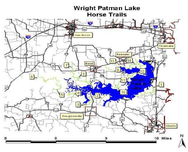 Wright Patman Lake  Horse Trails Map