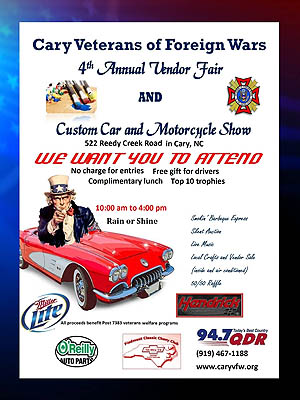 Cary Veterans of Foreign Wars Annual Vendor Fair and Custom Car and Motorcycle Show